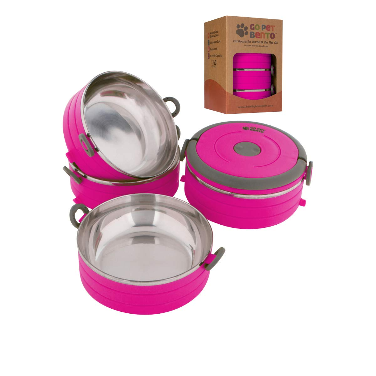 Healthy Human Portable Dog & Pet Travel Bowls with Lid - Human Grade Stainless Steel - Ideal for Food & Water - Pink - 4 Bowl Set by Healthy Human