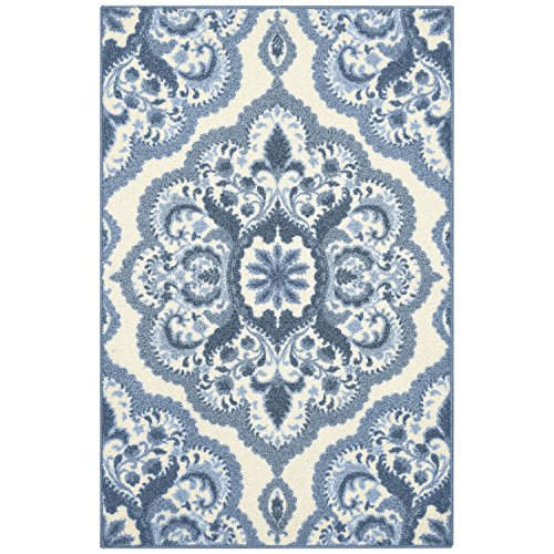 Maples Rugs Kitchen Rug - Vivian 2.5 x 4 Non Skid Small Accent Throw Rugs [Made in USA] for Entryway and Bedroom, 2'6 x 3'10, Blue (Maples Rug Store)