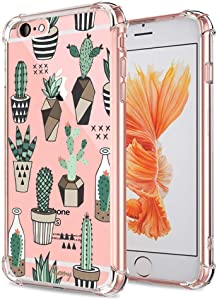 iPhone 6S Case Clear, Crystal Clear with Design Cactus Flowers Texture Bumper Protective Case for Apple iPhone 6 6S 4.7 Inch Gel Soft Flexible TPU Silicone Materials Slim Shockproof Cacti Floral Cover