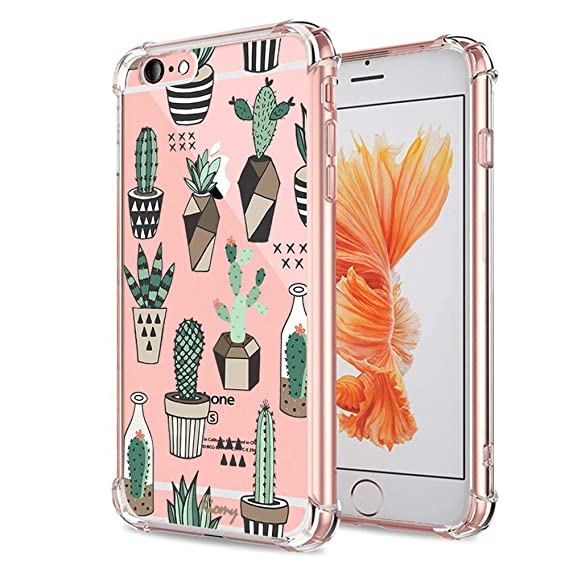 release date: a20c0 97f38 iPhone 6 Plus Case, Crystal Clear Case with Floral Pattern Design Cute  Funny Cactus Bumper Protective Case for iPhone 6 6S Plus 5.5 Inch Girls  Flowers ...