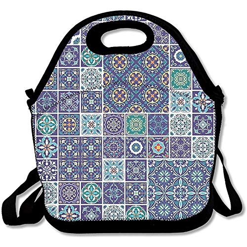 Traditional Mosaic Azulejo Portuguese Cultural Ceramic Tiles Folk Design Lunch Bag Tote For School Work Outdoor