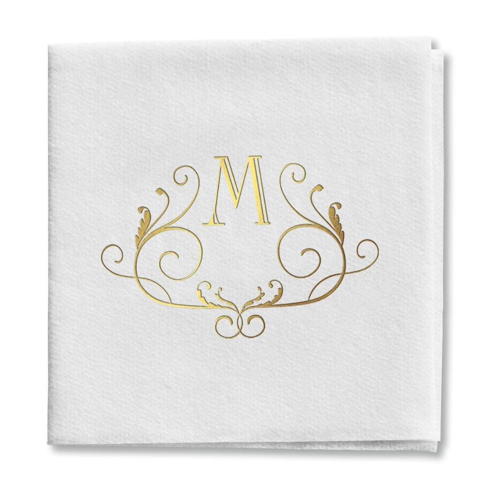 Scroll Initial Decorative Cocktail Napkins (125 Pre-Folded Napkins) - 5'' x 5'' Recycled Paper Party Napkins, Wedding Party Napkins, Bachelor, Bachelorette, Wedding Party Supplies