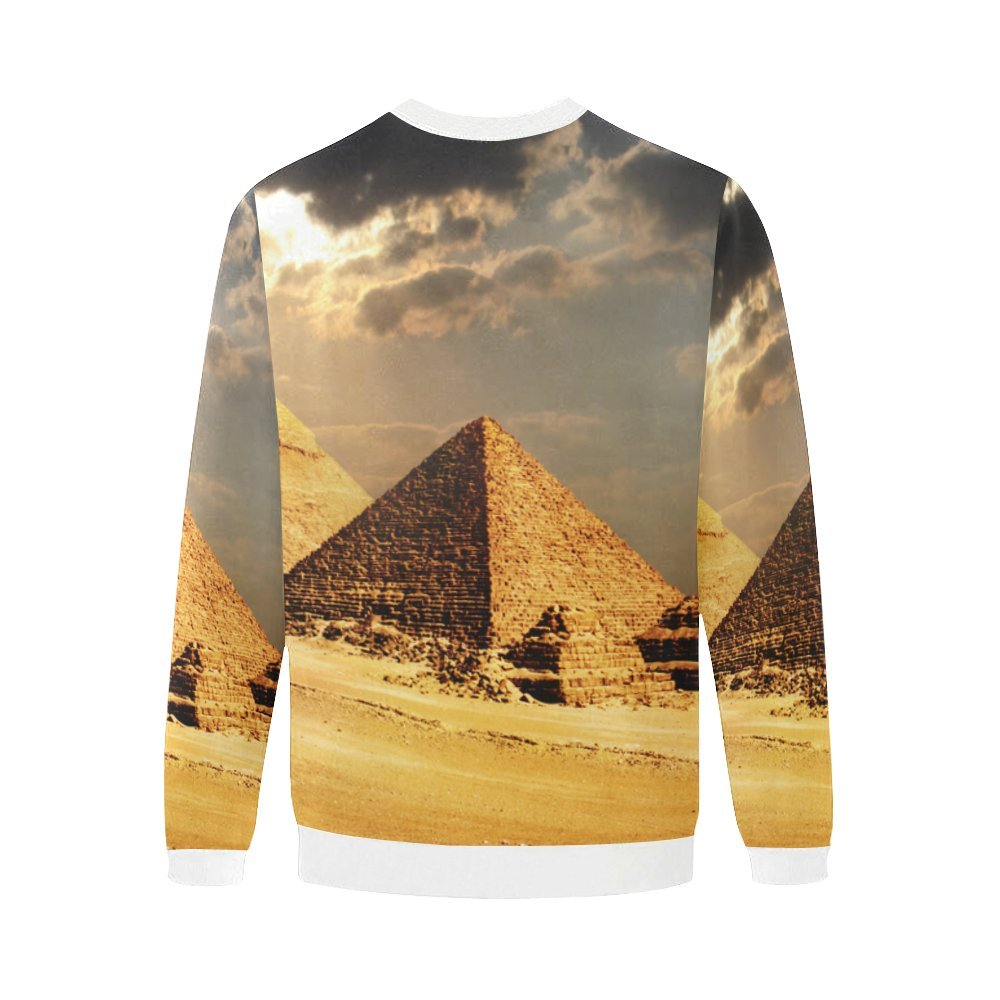 Egyptian Sphinx and Pyramid Mens 3D Printed Pullover Sweatshirt Sizes S-5XL