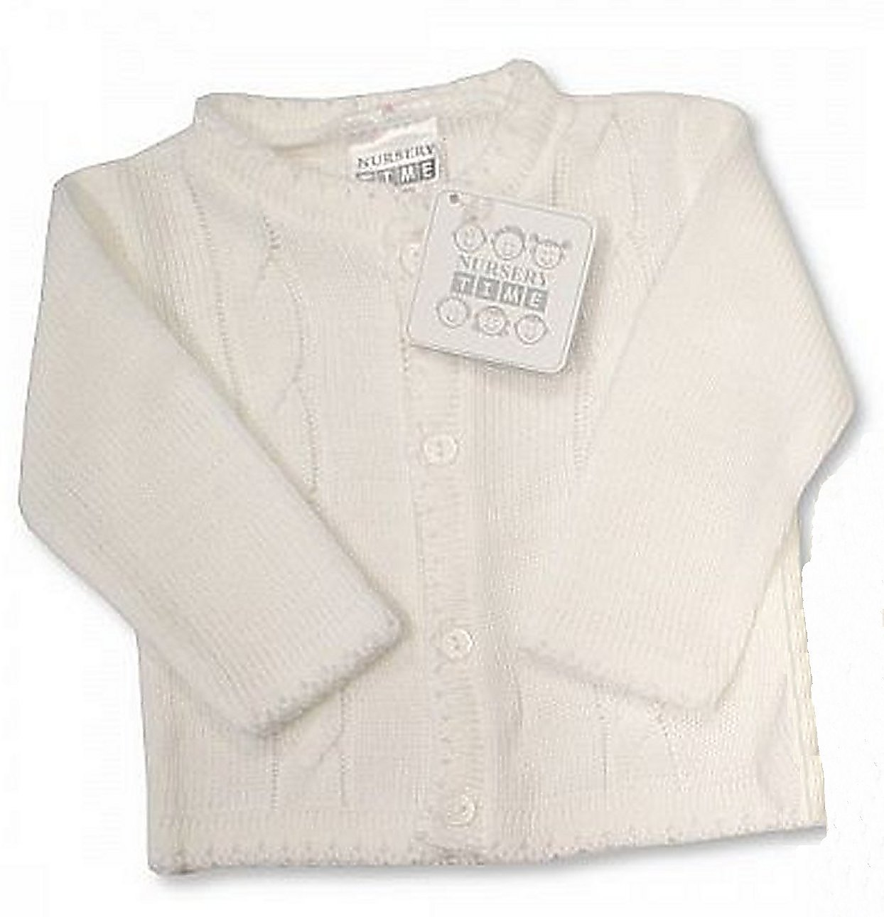 Baby Boy White Cable Knitted Christening Wedding Cardigan Jumper (0-3 Months) Nursery Time