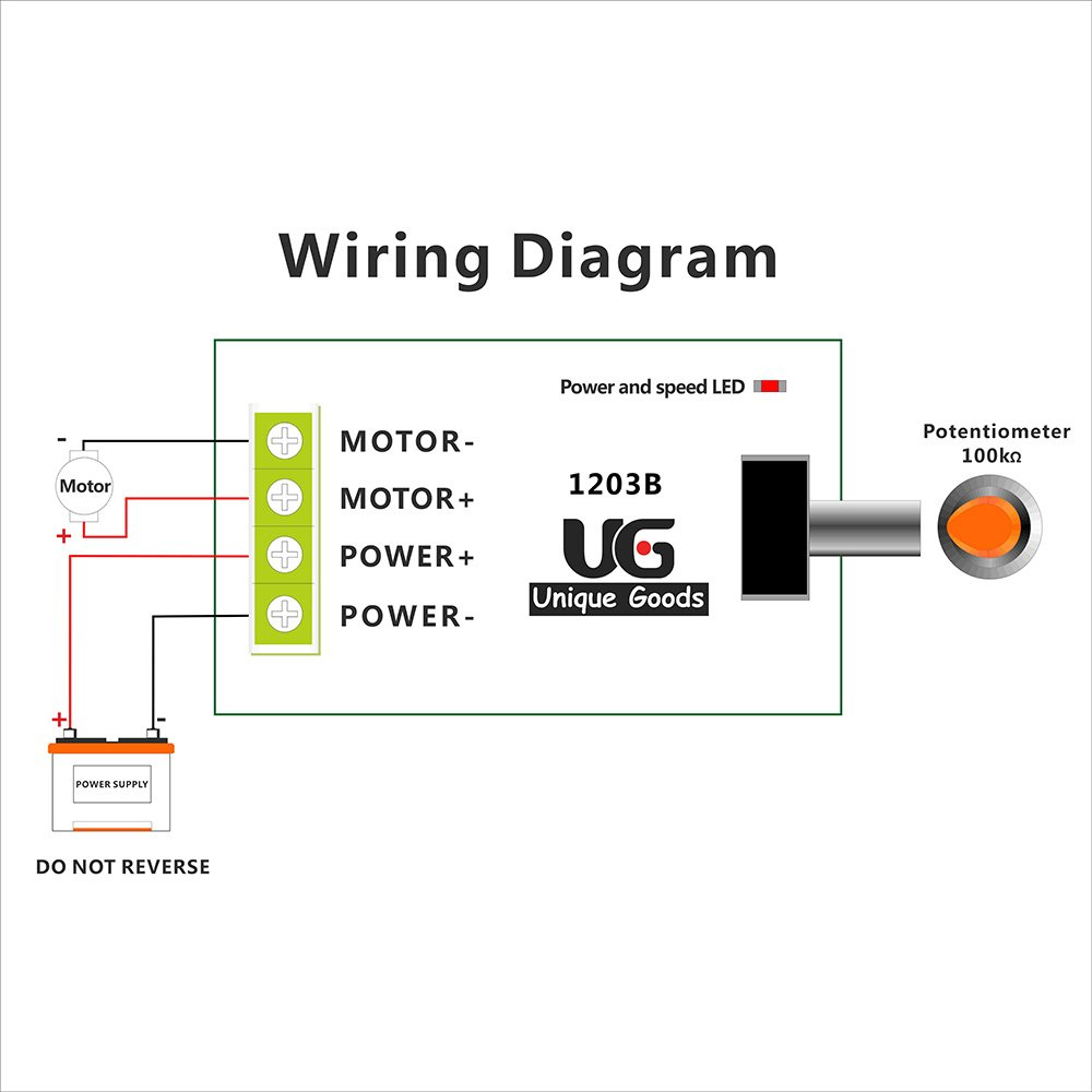 Uniquegoods 6v 12v 24v 28v 3a 80w Dc Motor Speed Controller Pwm Led Potentiometer Wiring Diagram Adjustable Variable Switch Driver 1203b