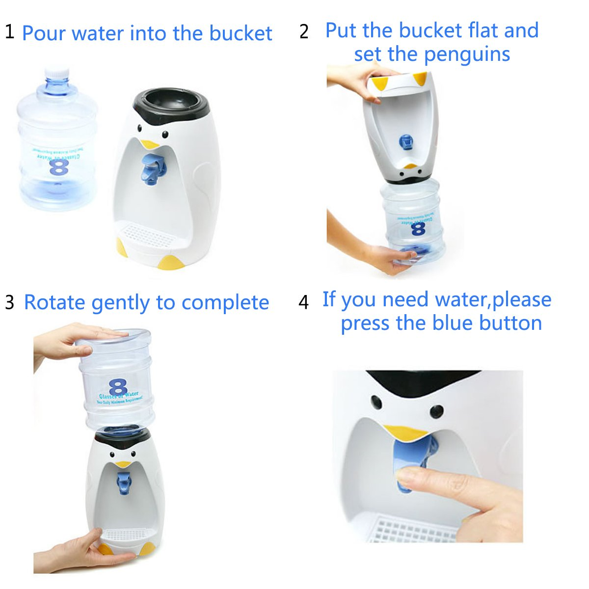LONGLISHENG 2.5L Capacity Desktop Water Dispenser with Bottle with Food Grade Silicone Tube