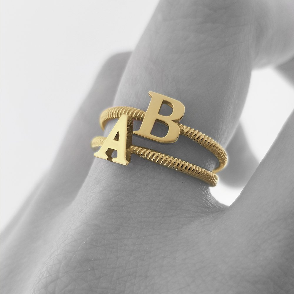 Women's 14k Yellow Gold ''C'' Initial Stackable Rope Design Ring (Size 5) by Modern Contemporary Rings (Image #3)