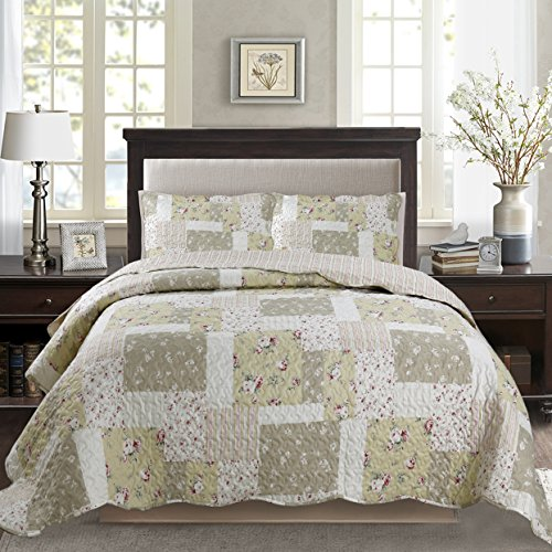 KASENTEX Country-Chic Printed Pre-Washed Set + 2 Shams, Microfiber Fabric Quilted Design Cotton Fill, Queen, ()