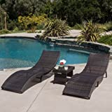 Home Acapulco Outdoor 3-piece Wicker Chaise Lounge Set