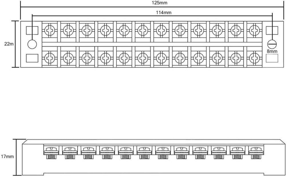 Baoblaze Satz Von 15A 12 Positionen Zweireihige Klemmblock Barrierenleiste Kabelverbinder Terminalstreifen