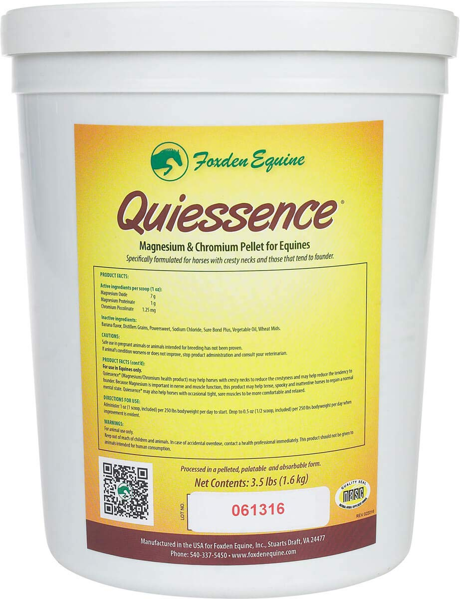 Quiessence Foxden Equine 3.5 lb Banana Flavored Magnesium Pellets Founder Calming Sore Muscle Supplement