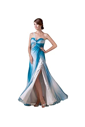 【Wonderfulドレス】グラデーション色調 青と白の幻コンビ 優雅なロングドレス