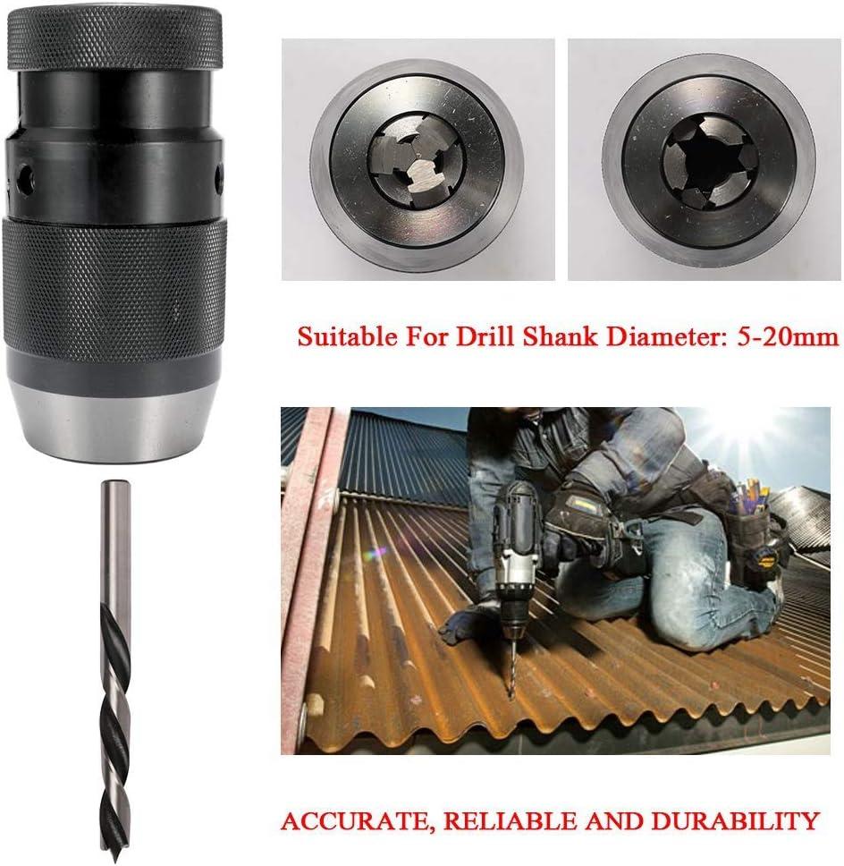 Naliovker B22 Keyless Light Duty Drill Chuck 5-20mm Self-Locking Click for CNC Milling Drilling Lathe Tool