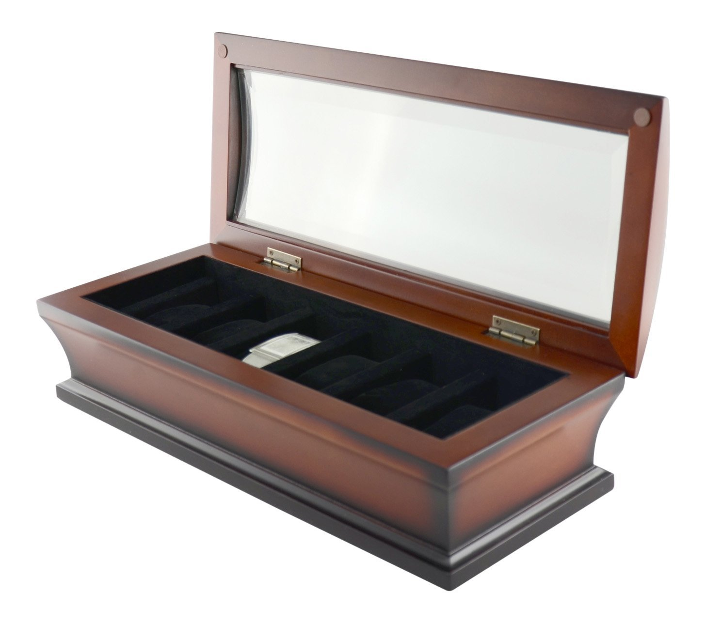 New Watch Display Case Mahogany Wood Finish - 6 Watches Brand Bombay - Glass Topped Case
