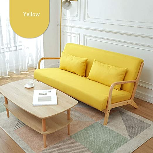 Heqianqian-Home Lazy Sofa Modern Wooden Soft Fabric Couch ...