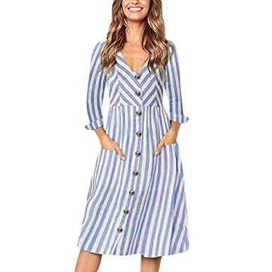 02c17e765f8 Minisoya Women Casual Long Sleeve V-Neck Striped Cocktail Party Dress Loose  Button Beach Long