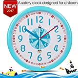"""Kid Wall Clock Baby Nursery Wall Clock In Kid's Romm Clock Bedroom Silent Non-ticking Wall Clock 12"""" Easy Read Time Teacher Children Learn Time Colorful Wall Clock Blue"""