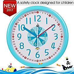 Kid Wall Clock Baby Nursery Wall Clock In Kid's Room Clock Bedroom Silent Non-ticking Wall Clock 12 Easy Read Time Teacher Children Learn Time Colorful Analog Wall Clock For Baby Blue