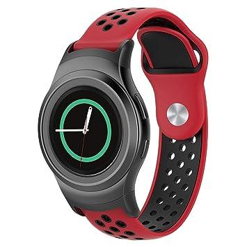 AOLVO - Correa de Silicona para Reloj Inteligente Samsung Gear S2 SM-R720/R730, Red-Black: Amazon.es: Deportes y aire libre