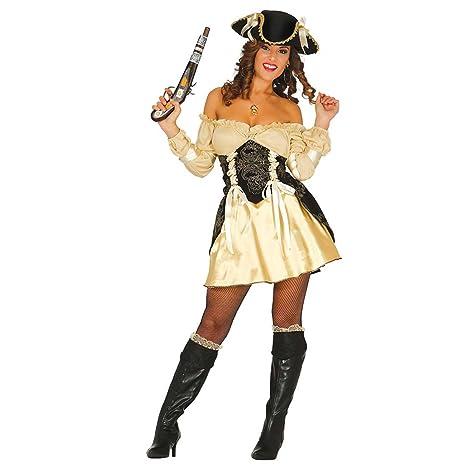 Costume sexy donna pirata Travestimento piratessa dorato L 46 48 - Vestito  bucaniera donne Abito e256756ecc7d