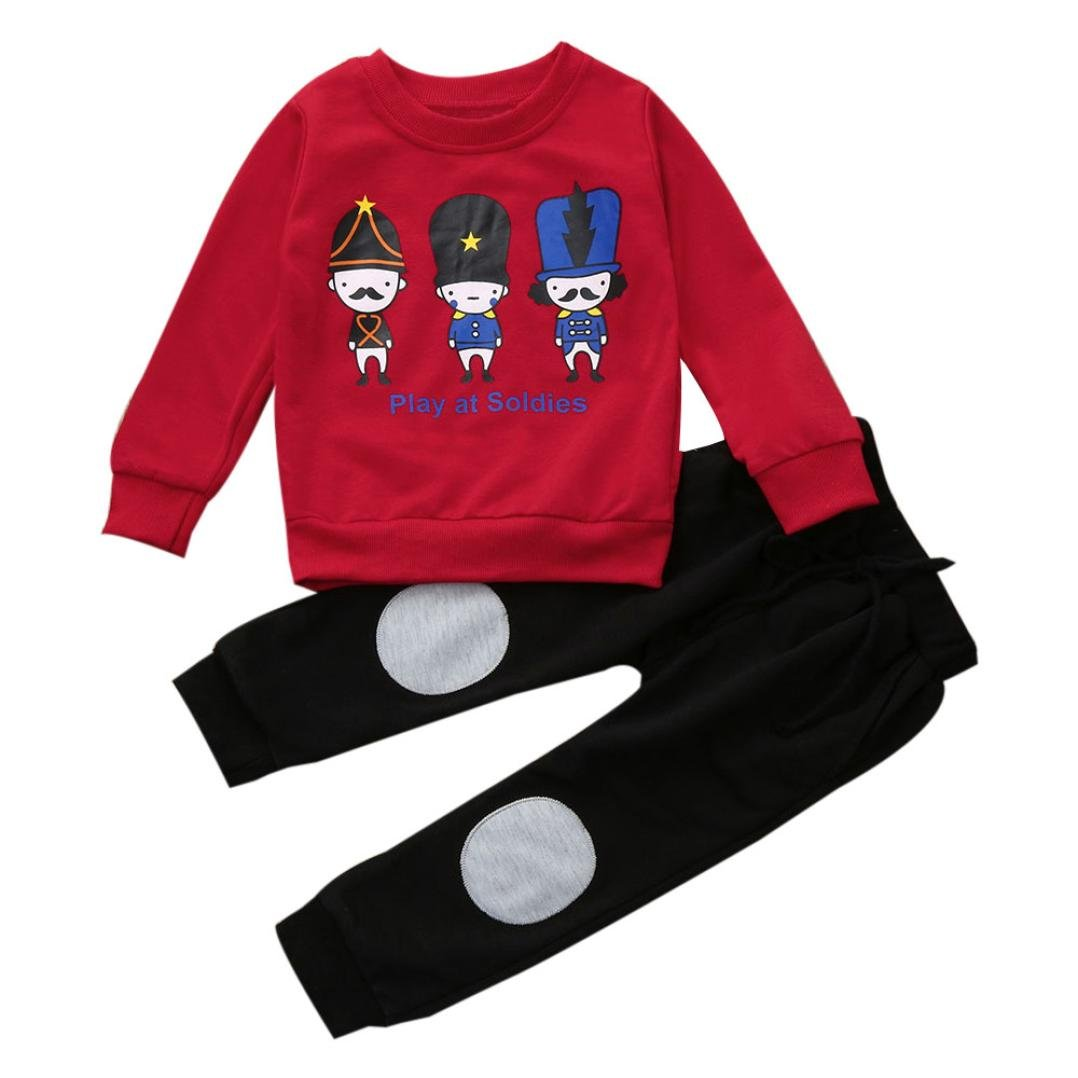 Vovotrade Autumn Winter Outfits Kids Baby Girl Boy Clothes Set Striped Bear Tops+Pants