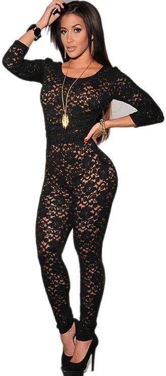 Overall tuta donna pizzo jumpsuit elegante scollata