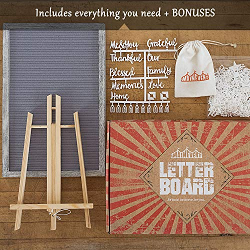Farmhouse Wall Decor Felt Letter Board - 12 x 17 Inch Rustic Wood Frame, Gray/Grey Felt with 374 Precut White Letters, Wall Hook, Canvas Bag, Stand - Great Shabby Chic Vintage Decor Message by MAINEVENT (Image #2)