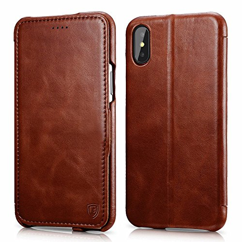 iPhone X Case,Benuo [Vintage Classic Series]Genuine Leather Folio Flip Corrected Grain Leather Case,Ultra Slim,Handmade Style with Magnetic Closure for Apple iPhone X/iPhone 10 (Brown) (Leather Flip Case)