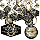Roaring 20's - 1920s Art Deco Jazz Party Hanging Decor - Party Decoration Swirls - 2020 Graduation and Prom Party - Set of 40