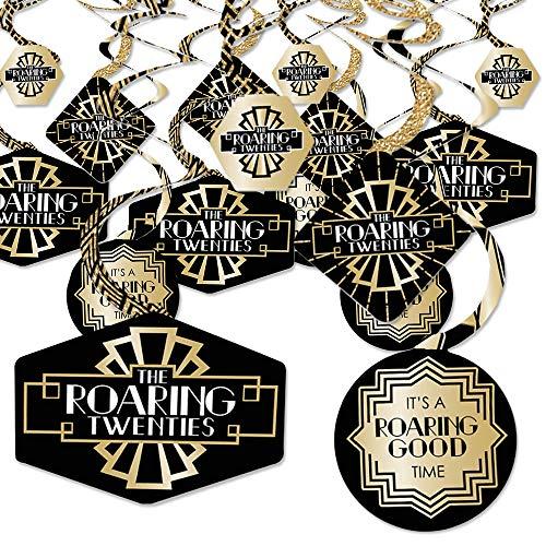 (Roaring 20's - 1920s Art Deco Jazz Party Hanging Decor - Party Decoration Swirls - Set of 40)