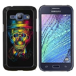 TECHCASE---Cubierta de la caja de protección para la piel dura ** Samsung Galaxy J1 J100 ** --Diseño Cráneo 3D