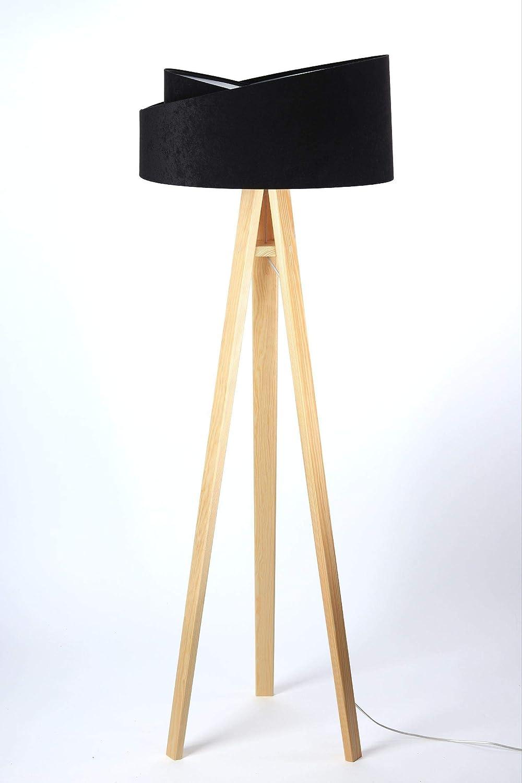 Stehlampe Holz Stoff In Schwarz Silber 145cm Wohnzimmer Modern Stylisch Dreibein Stehleuchte Diane Amazon De Beleuchtung