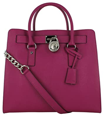 00d3e899a55b MICHAEL Michael Kors Large Hamilton North/South Saffiano Leather Tote in  Deep Pink