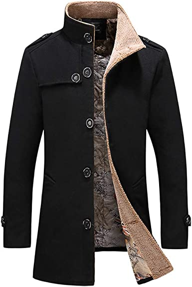 Cromoncent Mens Winter Fleece Lined Faux Leather Single Breasted Parkas Jacket