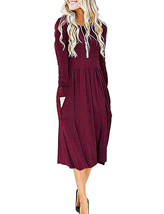 MISFAY Women's Long Sleeve Pockets Empire Waist Pleated Loose Swing Casual Flare Midi Dress (M, Wine Red) best long-sleeved dress