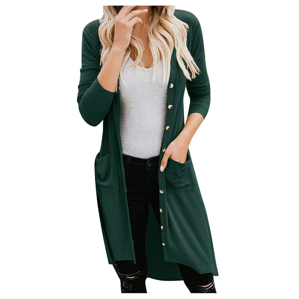 Fashionhe Women Cardigans Outwear Long Sleeve Coat Solid Color Snap Button Down Knit Ribbed Overcoat(Green.XXL) by Fashionhe