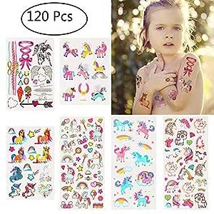 Tacobear 120 Tatuajes Temporales Niños Tatuajes Unicornio Niñas ...