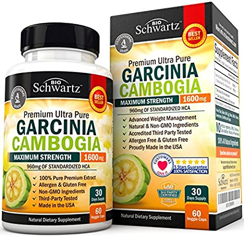 Garcinia Cambogia Pure Extract 1600mg with 960mg HCA. Fast Weight Loss & Fat Metabolism. Best Appetite Suppressant, Extreme Carb Blocker & Fat Burner for Women & Men. Garcinia Cambogia Premium (Carcinia Cambogia Premium)
