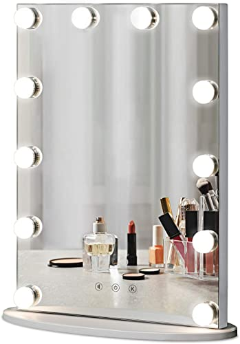 LUXFURNI Vanity Tabletop Hollywood Makeup Mirror w USB-powered Dimmable Light, Touch Control, 12 Day Warm LED Light