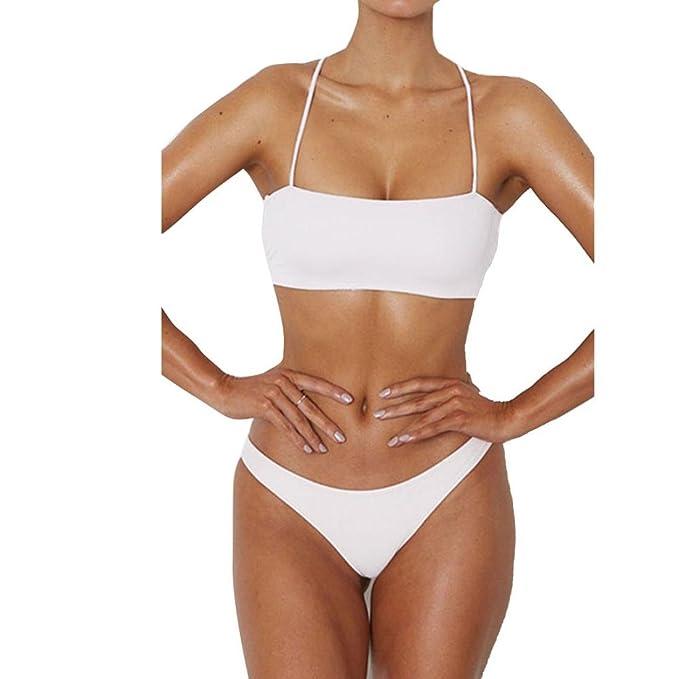 SHOBDW Las Mujeres de Moda de Verano Mediados de Cintura Vendaje Bikini Tanga Traje de Baño