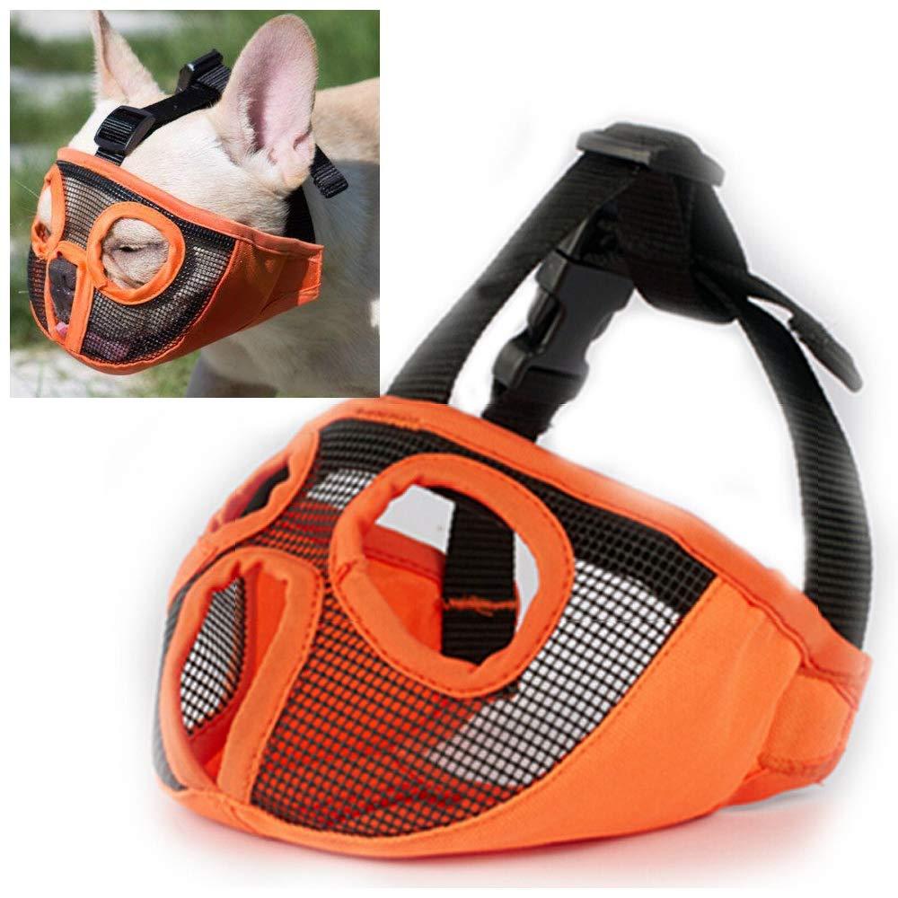 orange-New L orange-New L Short Snout Dog Muzzle Adjustable Breathable Mesh Bulldog Muzzle for Biting Chewing Barking Training Dog Mask (L, orange-New)