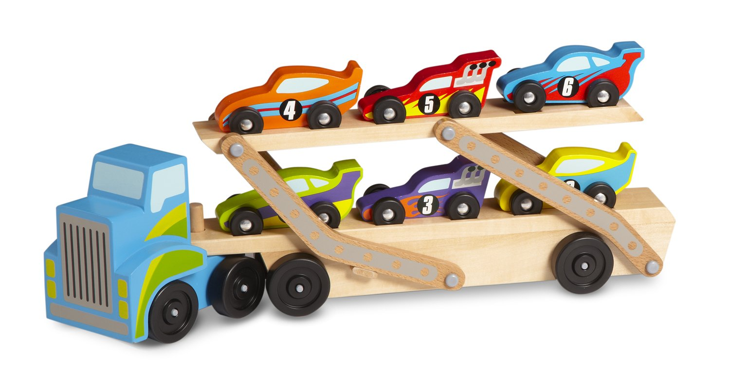 Melissa & Doug Mega Race-Car Carrier - Wooden Tractor and Trailer With 6 Unique Race Cars 2759