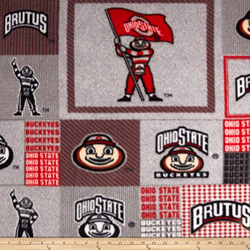 - Sykel Enterprises Collegiate Fleece Ohio State University Block Print Grey/Red Fabric by The Yard,