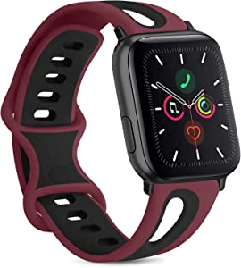 Vancle Silicone Bands Compatible with Apple Watch Band 38mm 40mm 42mm 44mm, Soft Breathable Silicone Replacement Band for iWatch Series 6 5 4 3 2 1 SE (Wine Red/Black, 42mm/44mm S/M)