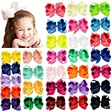 30pcs 6'' Hair Bows Clips Solid Color Grosgrain Ribbon Larger Bows Clips for Baby Girls Infants Toddlers Kids Teens