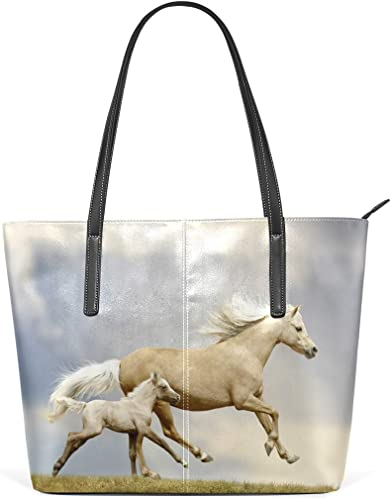 DEZIRO Sac à main à bandoulière pour femme Motif cheval Gris