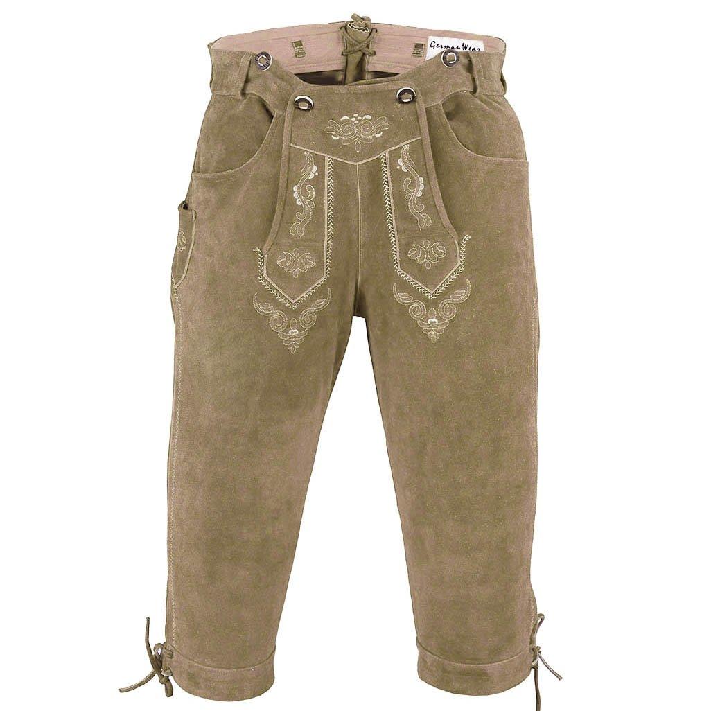German Wear, Trachten Lederhose Kniebundhose Trachtenhose Hose mit Hosenträger GW822