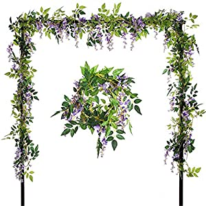 Ivalue Artificial Hanging Flowers Silk Wisteria Vines Ratta 4pcs 6.6Ft/Piece Fake Garland Flowers for Wedding Decoration 46