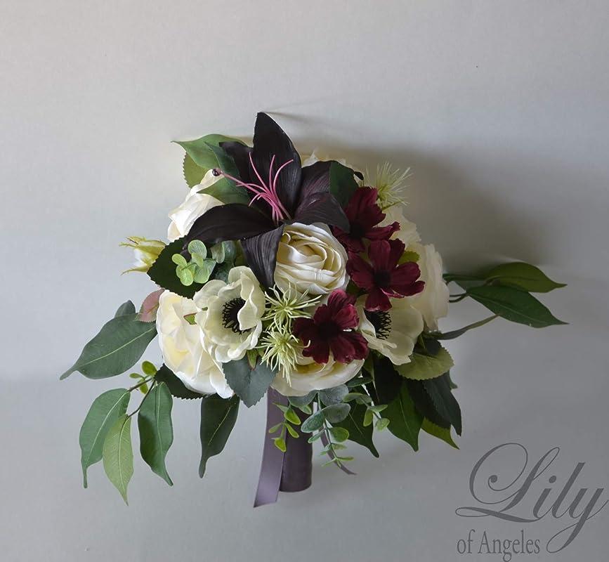 Mauve Wine Silk Bouquet Burgundy Wedding Bouquet Bridal Bouquet Lily of Angeles Wedding Flower Silk Flower Bouquet 17 Piece Package