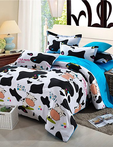ZQ Personality style Flash Sale Bedding Set Dairy Cow Print Bedding Kawaii Bedspread for Children colcha de cama Duvet Cover 4Pcs Queen Size , queen Bedding ZQ